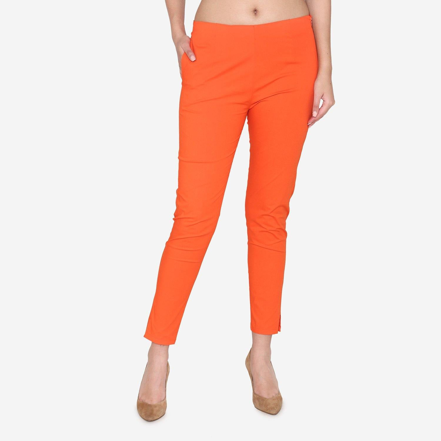 Vami Women's Cotton Formal Trousers- Fire