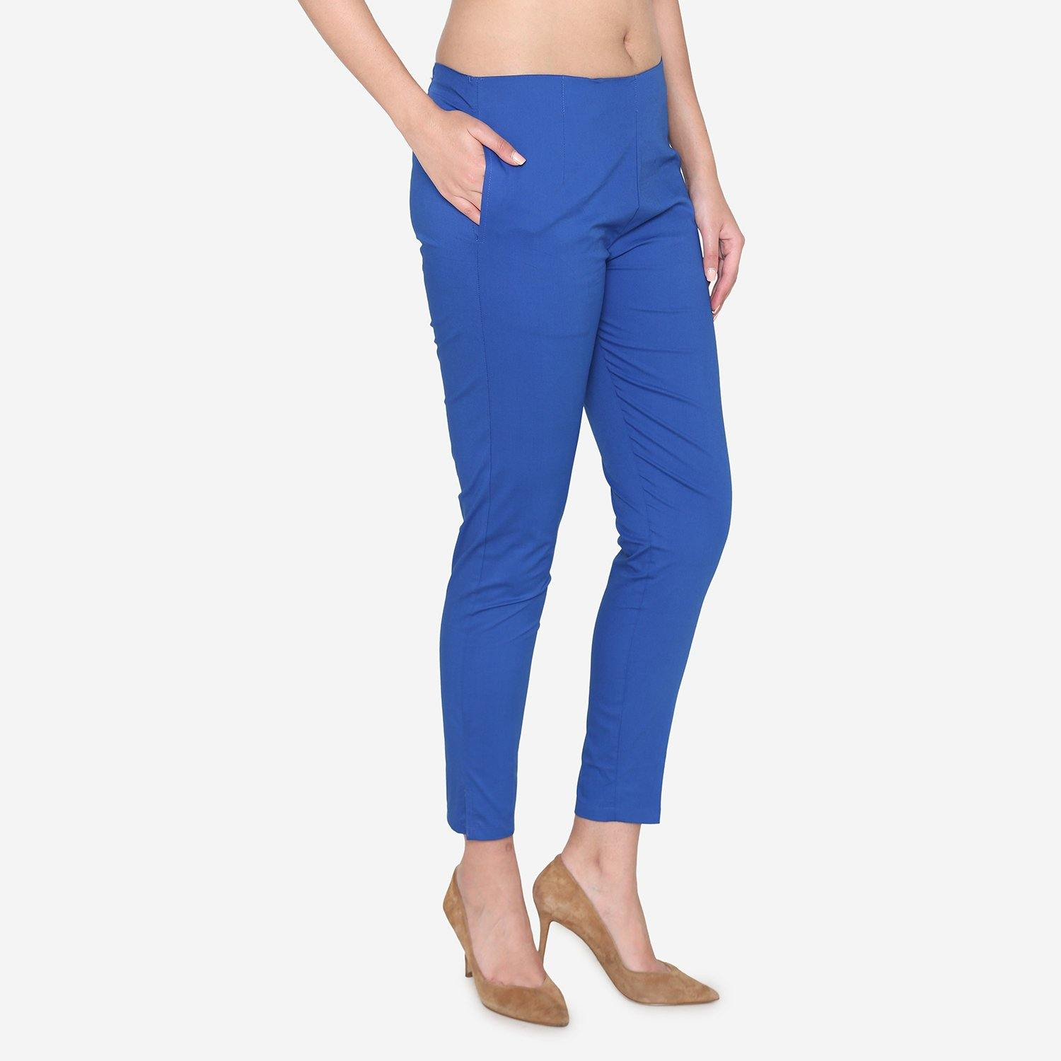 Vami Women's Cotton Formal Trousers - True Blue