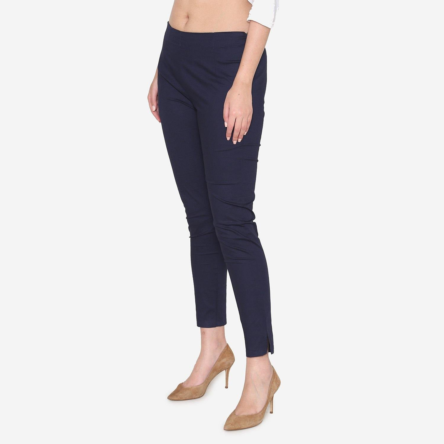Vami Women's Cotton Formal Trousers - Navy