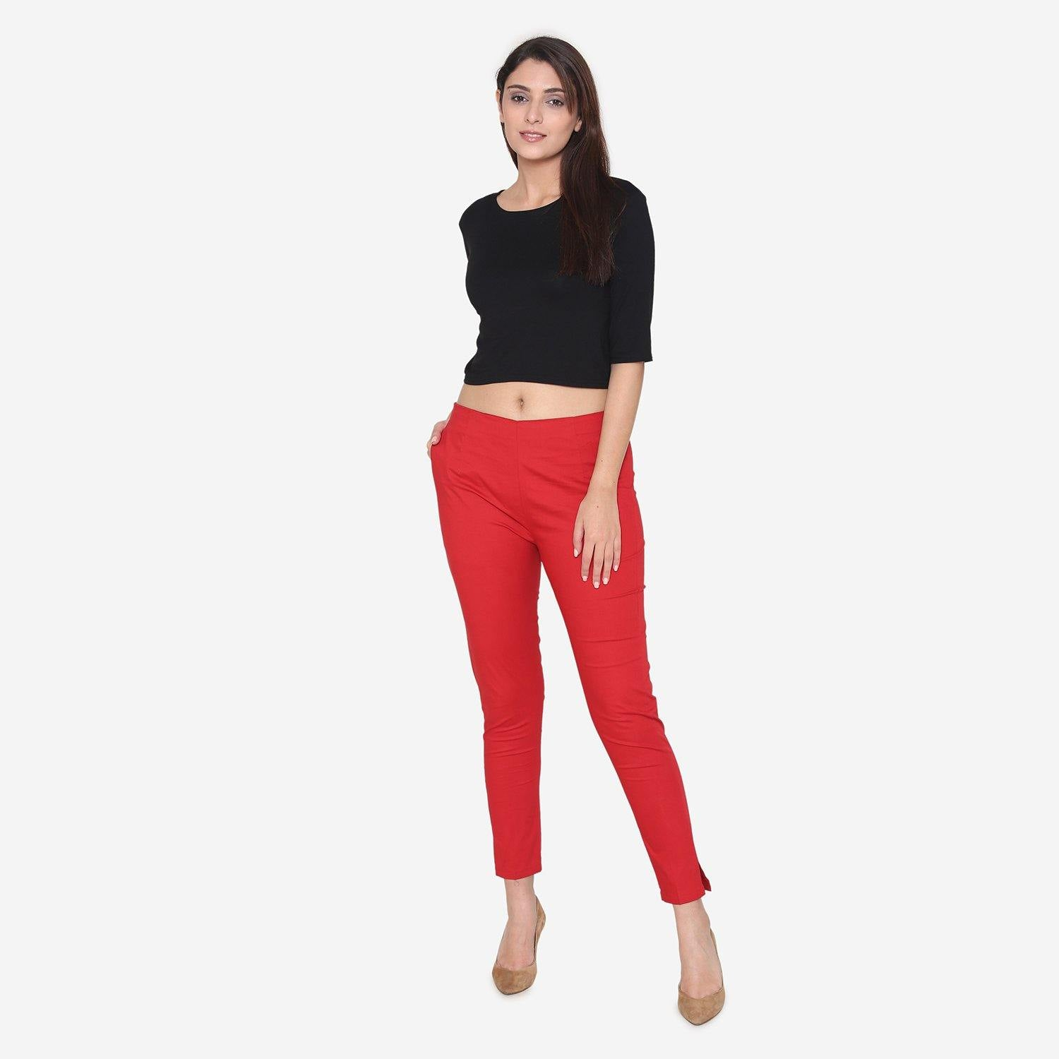 Vami Women's Cotton Formal Trousers - True Red