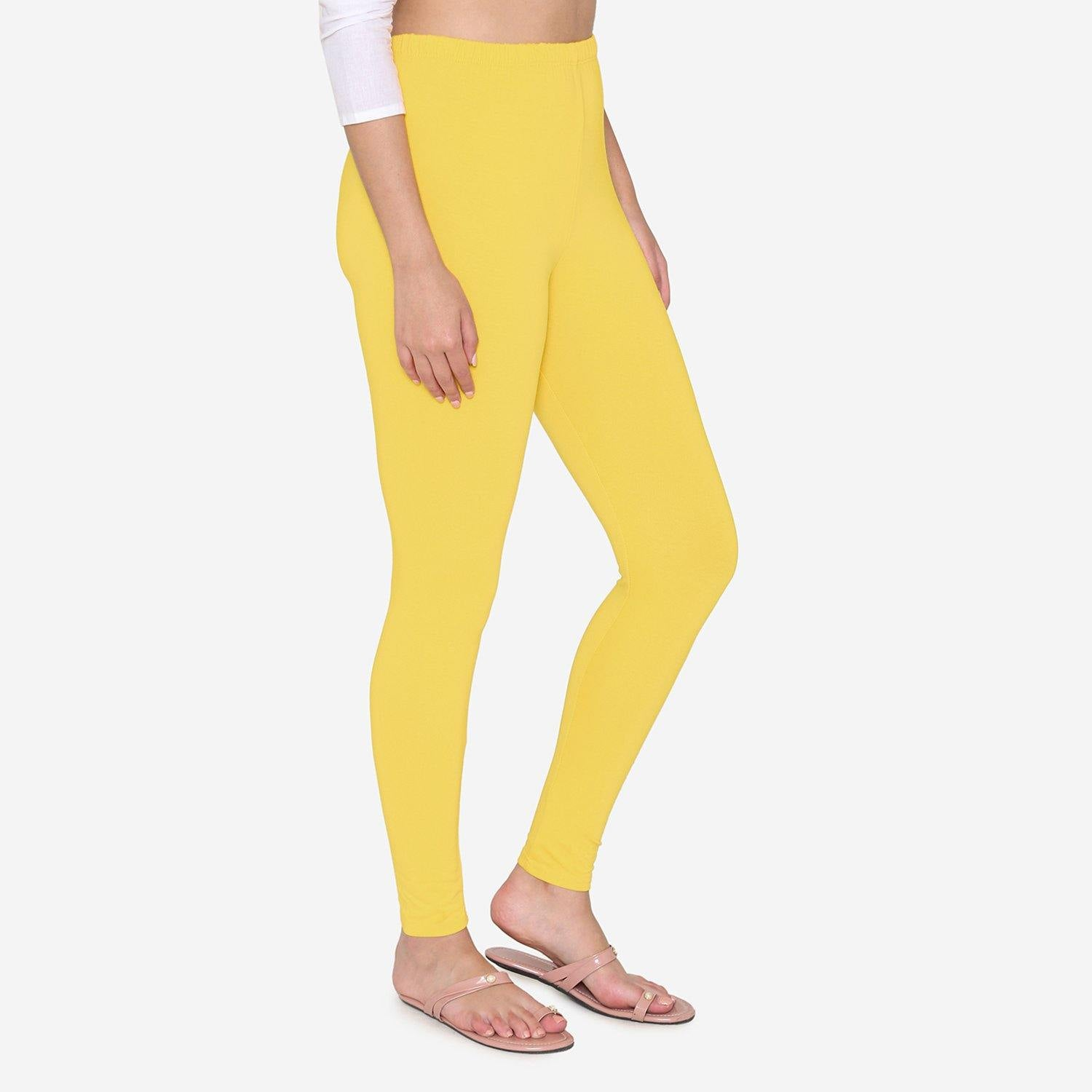 Vami Women's Cotton Stretchable Ankle Leggings - Empire Yellow