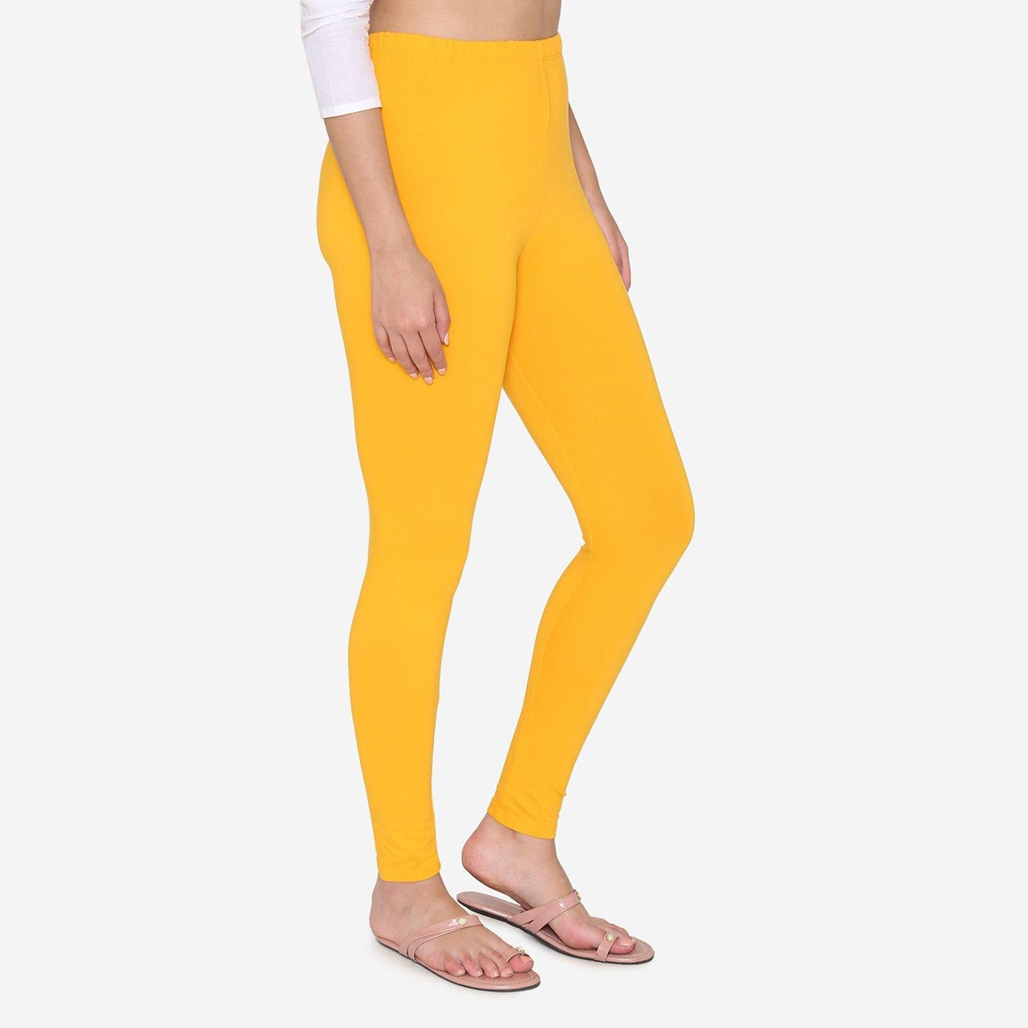 Vami Women's Cotton Stretchable Ankle Leggings - Marigold