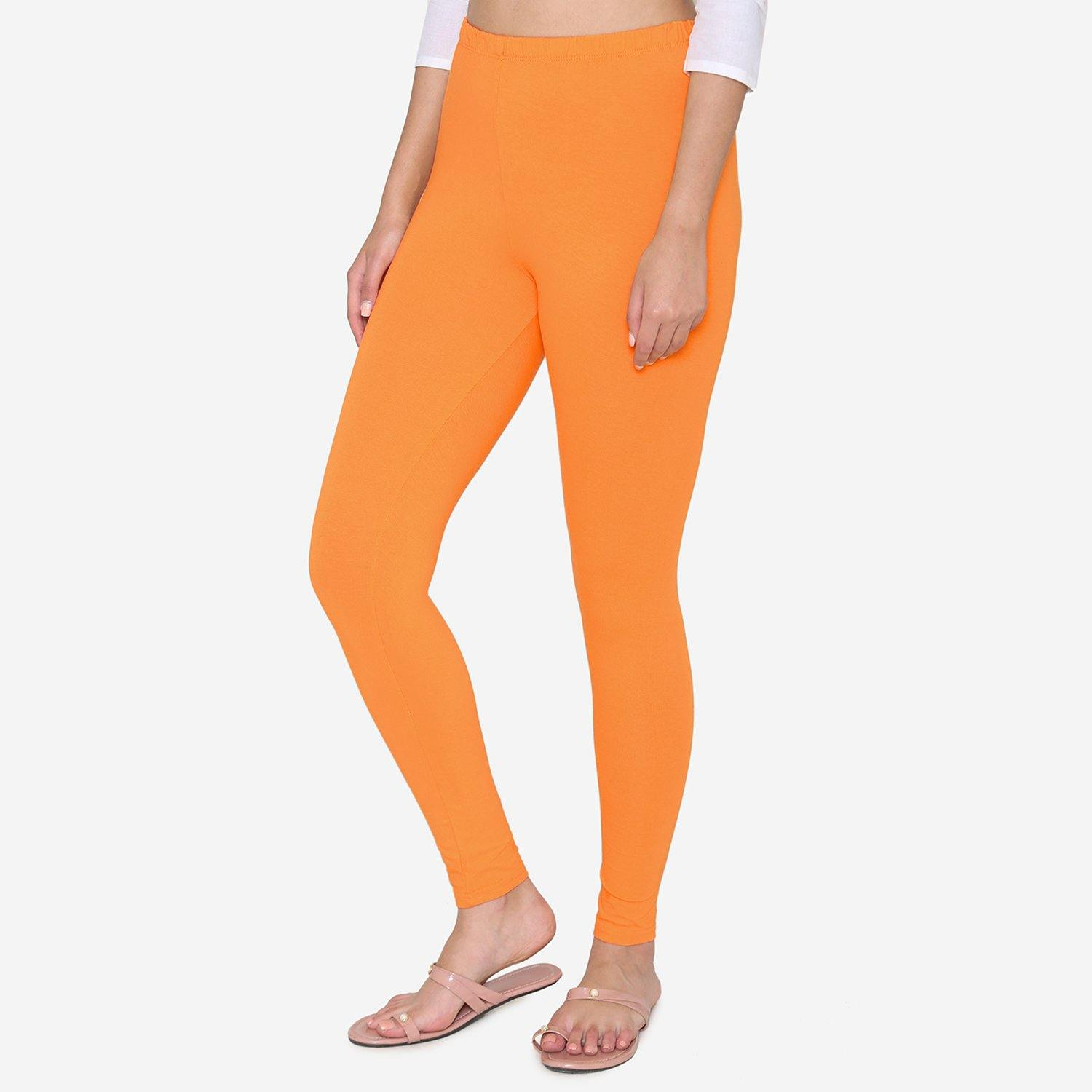 Vami Women's Cotton Stretchable Ankle Leggings -Vibrant Orange