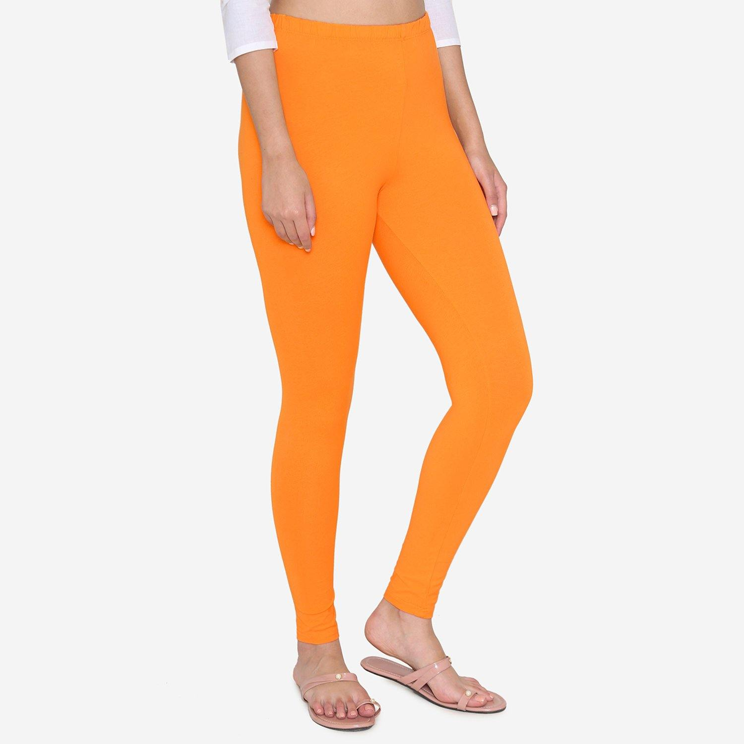 Vami Women's Cotton Stretchable Ankle Leggings -Fire