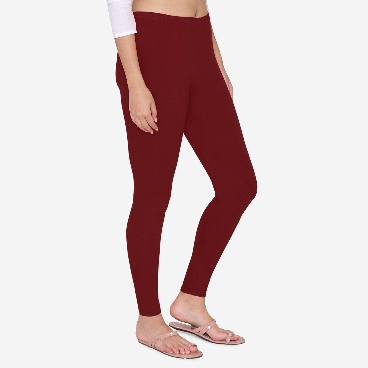 Vami Women's Cotton Stretchable Ankle Leggings - Dark Maroon