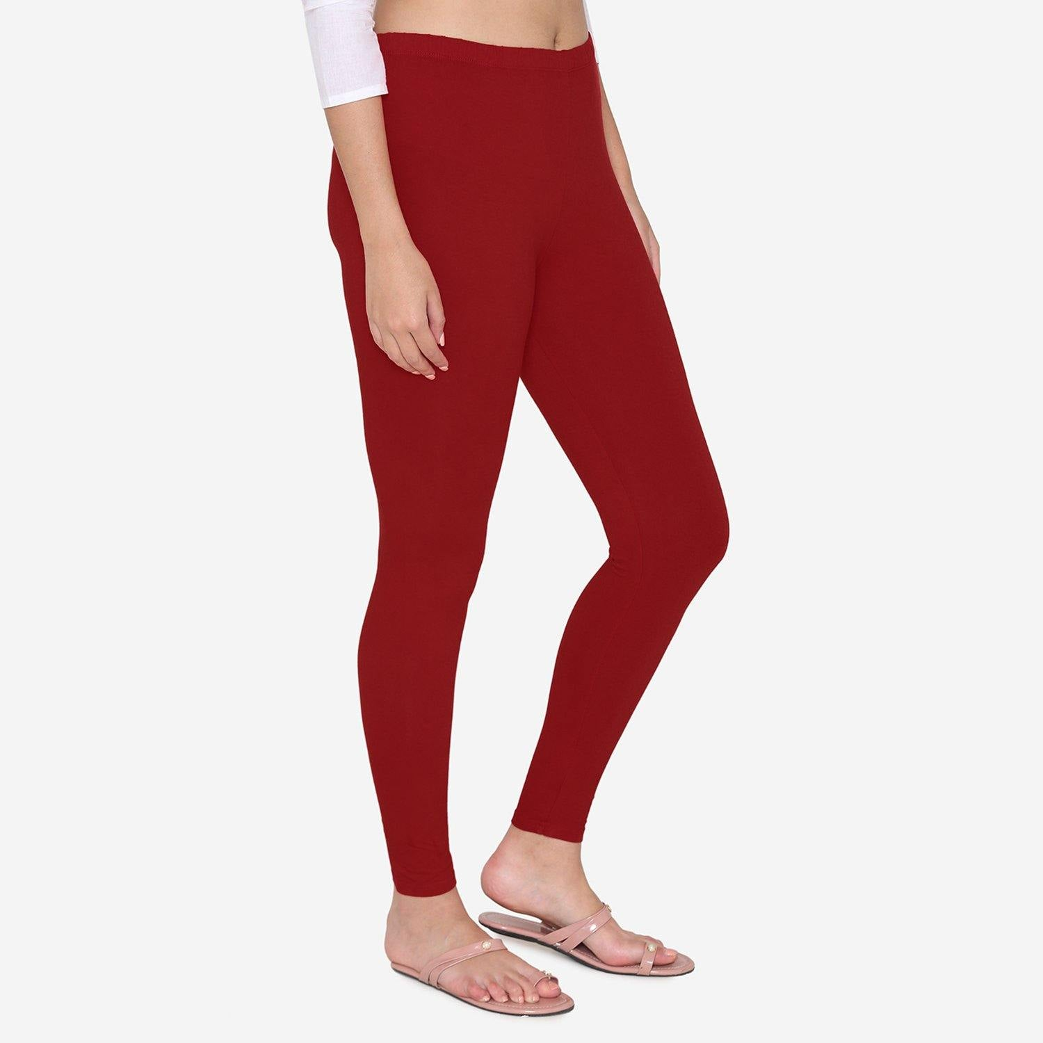Vami Women's Cotton Stretchable Ankle Leggings -Maroon