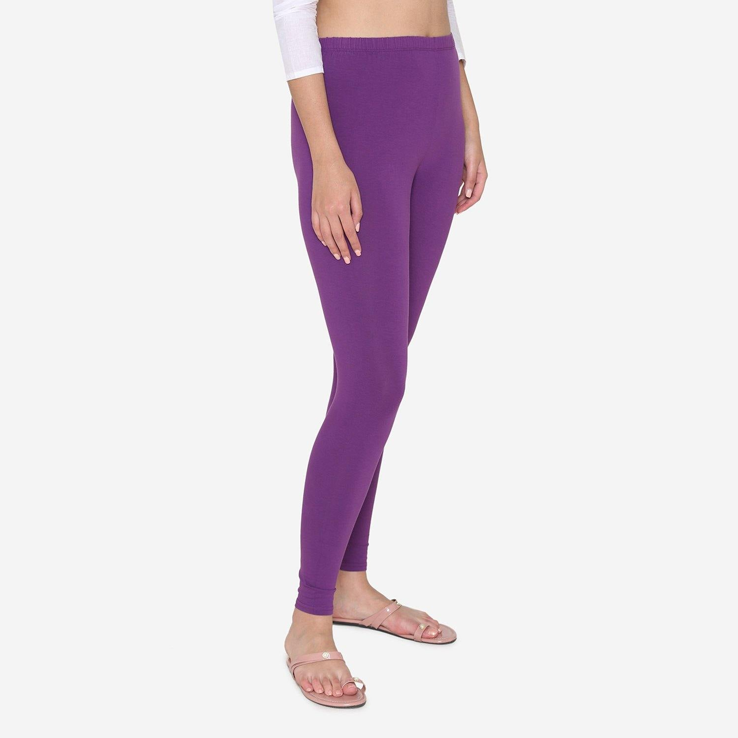 Vami Women's Cotton Stretchable Ankle Leggings - Imperial Purple