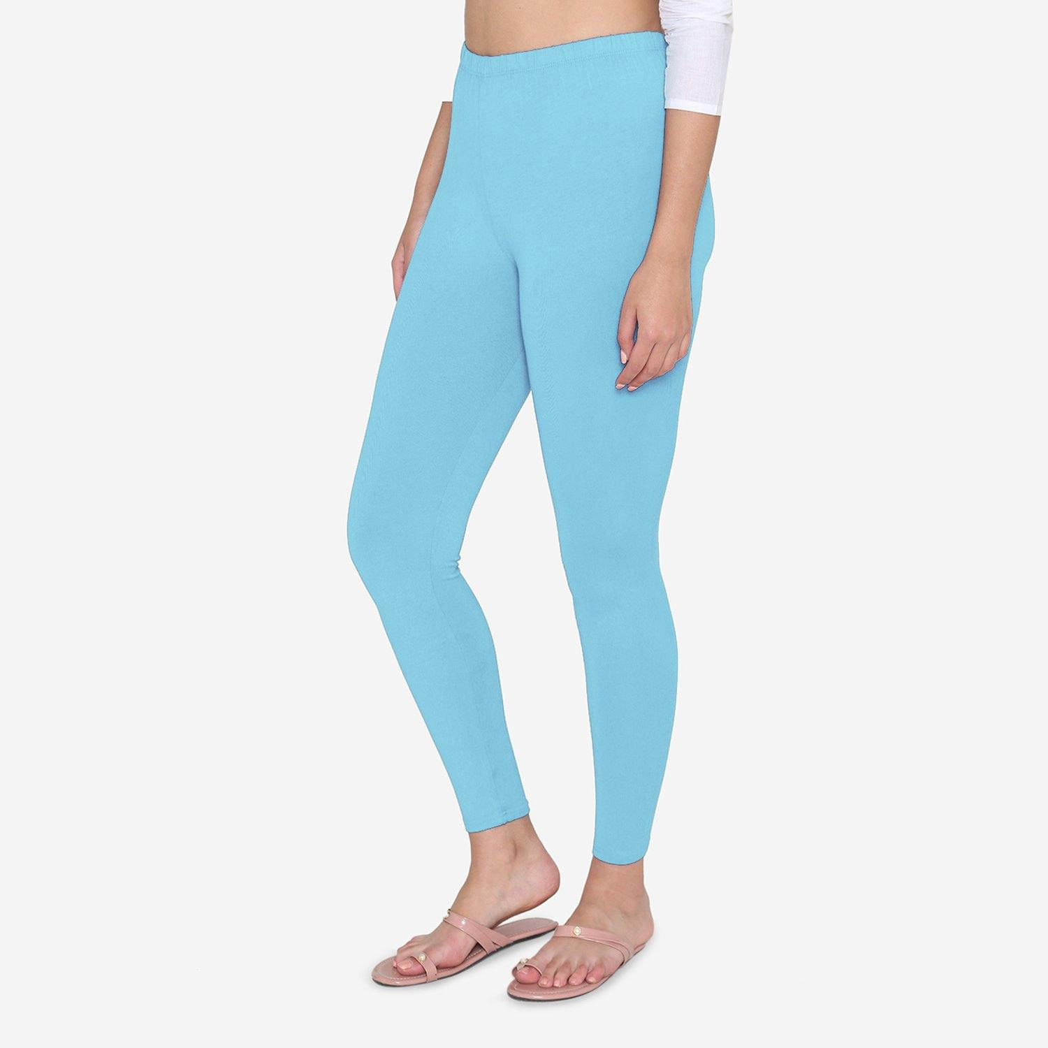 Vami Women's Cotton Stretchable Ankle Leggings - Aquamarine