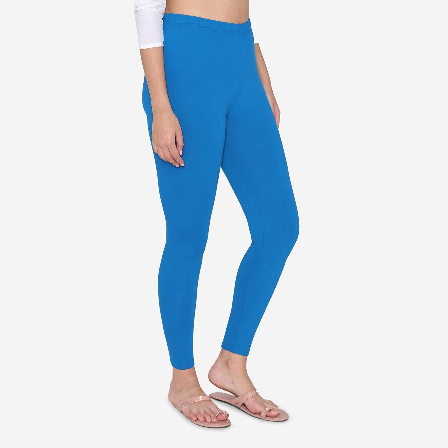 Vami Women's Cotton Ankle legging - Coral Blue