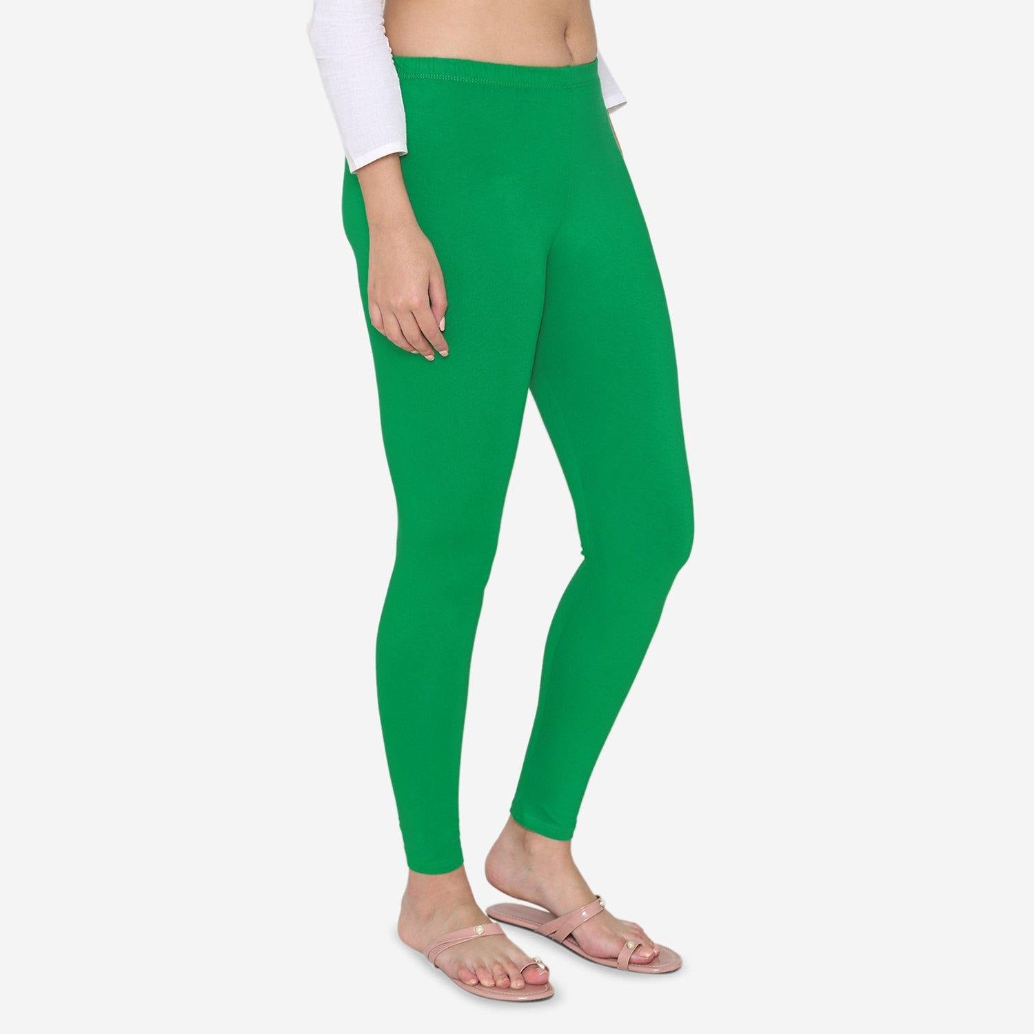 Vami Women's Cotton Stretchable Ankle Leggings - Pepper Green