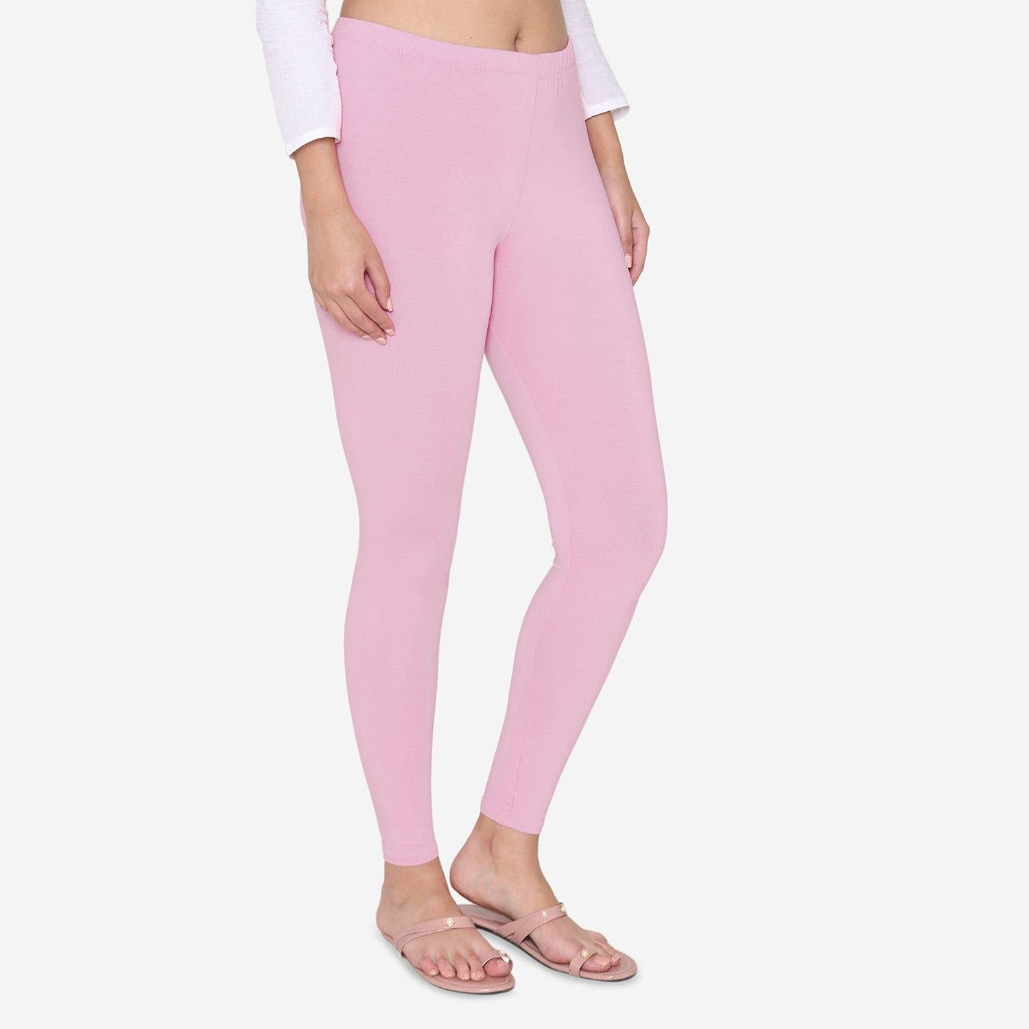 Vami Women's Cotton Stretchable Ankle Leggings - Royal Pink