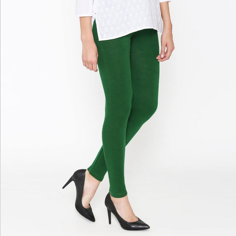 Vami Women's Woolen Ankle legging - Rich Green