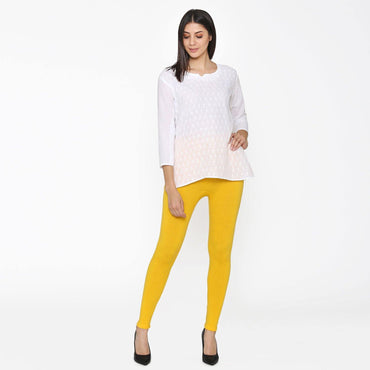 Vami Women's Woolen Ankle Legging - Sun Flower