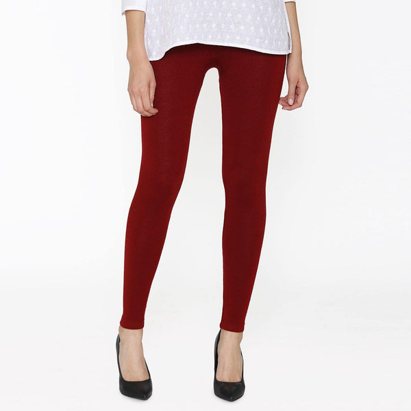 Vami Women's Woolen Ankle Legging - True Red