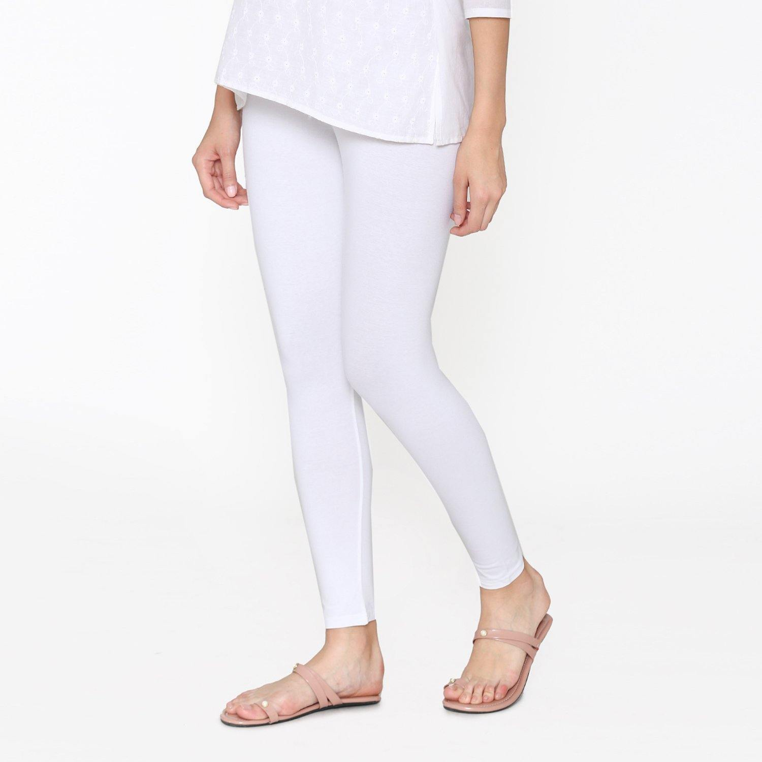 White Color Ankle Leggings