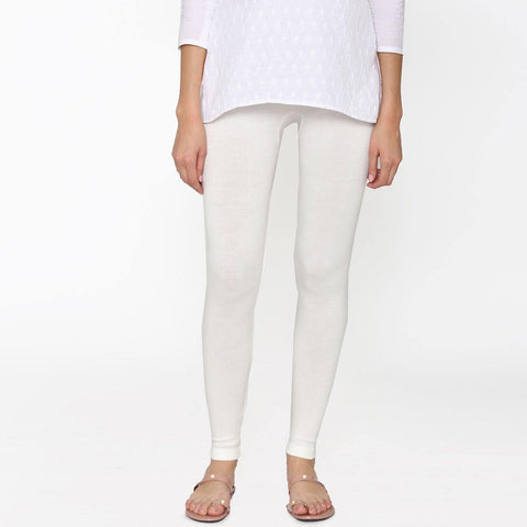 Vami Women's Woolen Ankle Legging - Off White