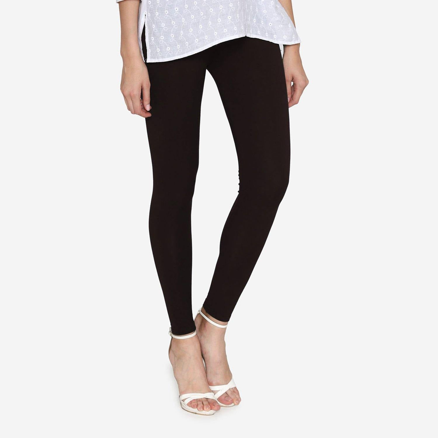 Vami Women's Cotton Stretchable Ankle Leggings - Black