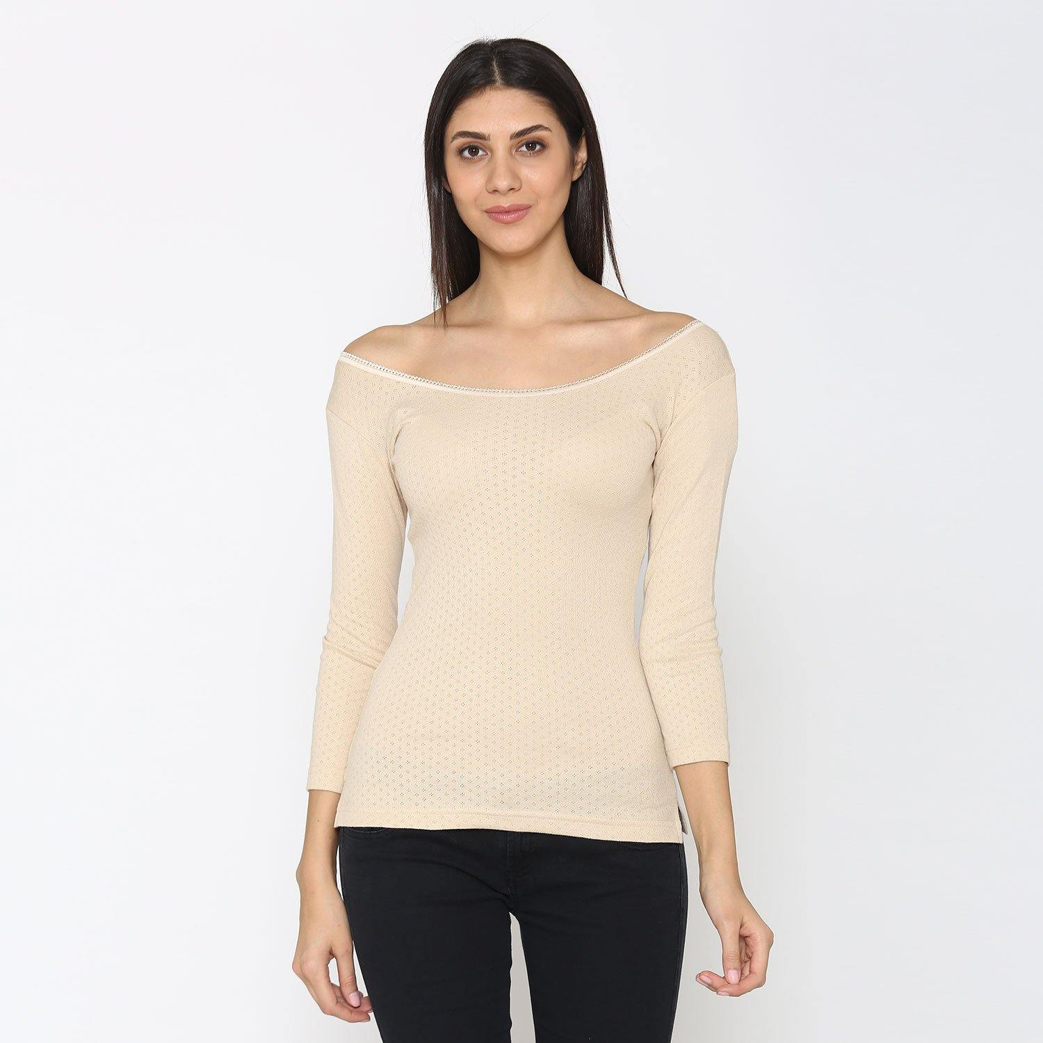 Women Plain 3/4 - Length Thermal Top - Skin