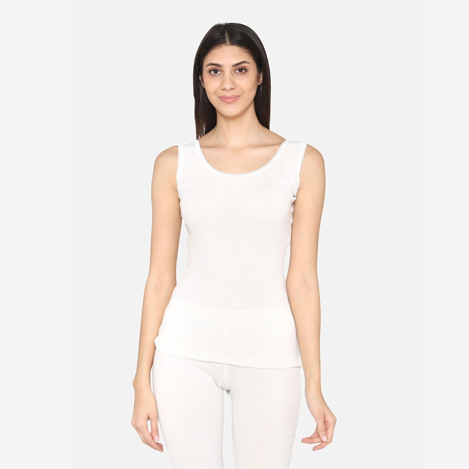 Vami Sleeve- less Thermal Top For Women in Off- White  Color