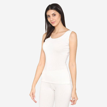 Women Sleeveless Thermal Slip-Off White