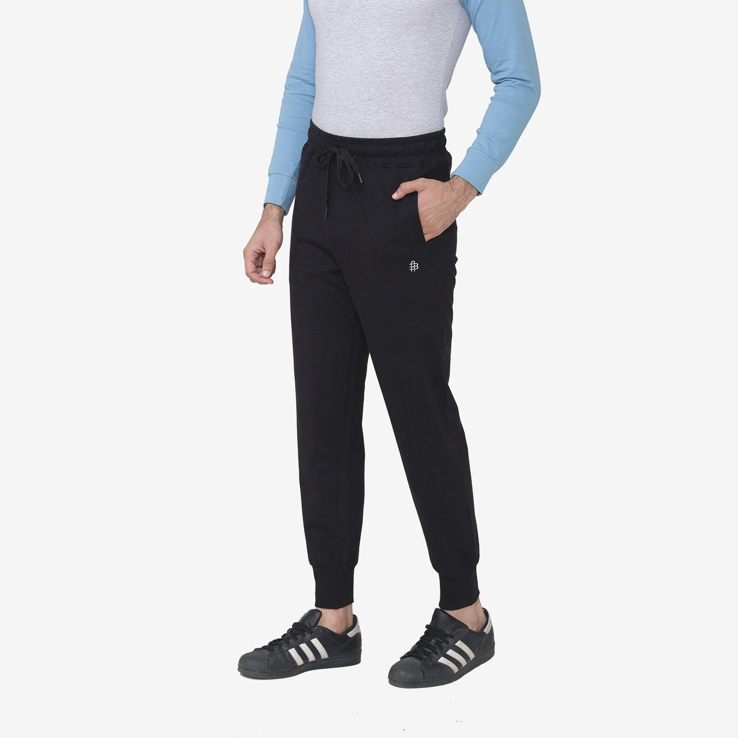 Men's Stretchable Casual Joggers Pants For Winter - Black
