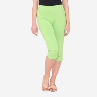 Women's Comfy Classy Plain Capri For Summer - Green