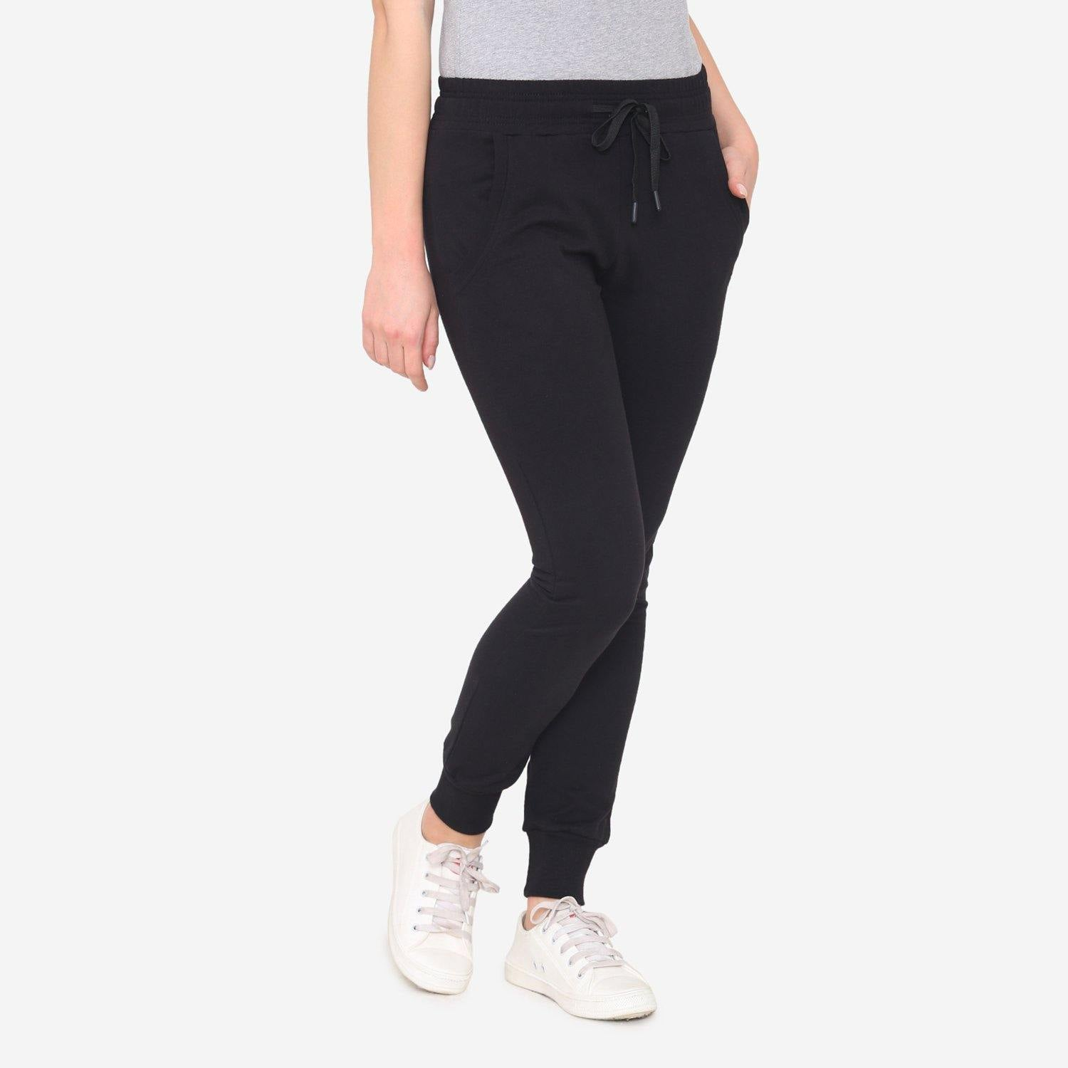 Women's Plain Winter Jogger Pants - Black