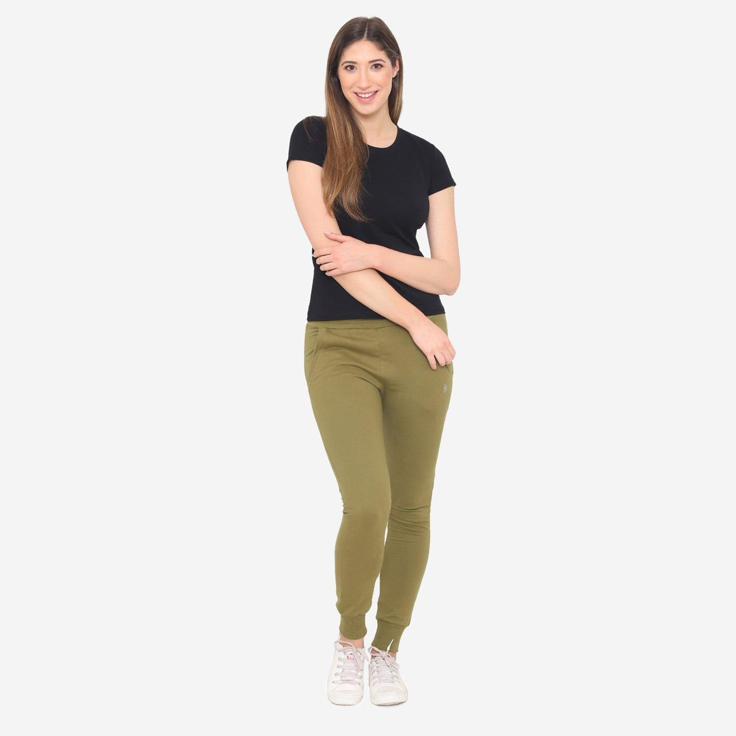 Women's Plain Casual Jogger Pants - Dusty Green