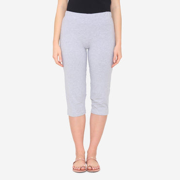 Women's Plain Knitted Capri for Summer - Light Grey