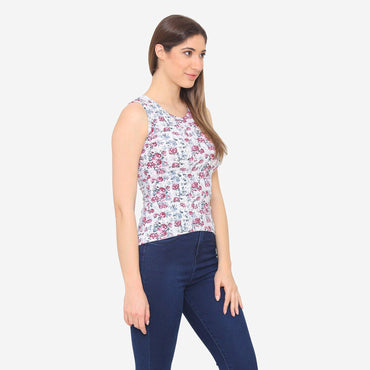 Women's Floral Prints Casual Summer Sleeveless T-Shirt