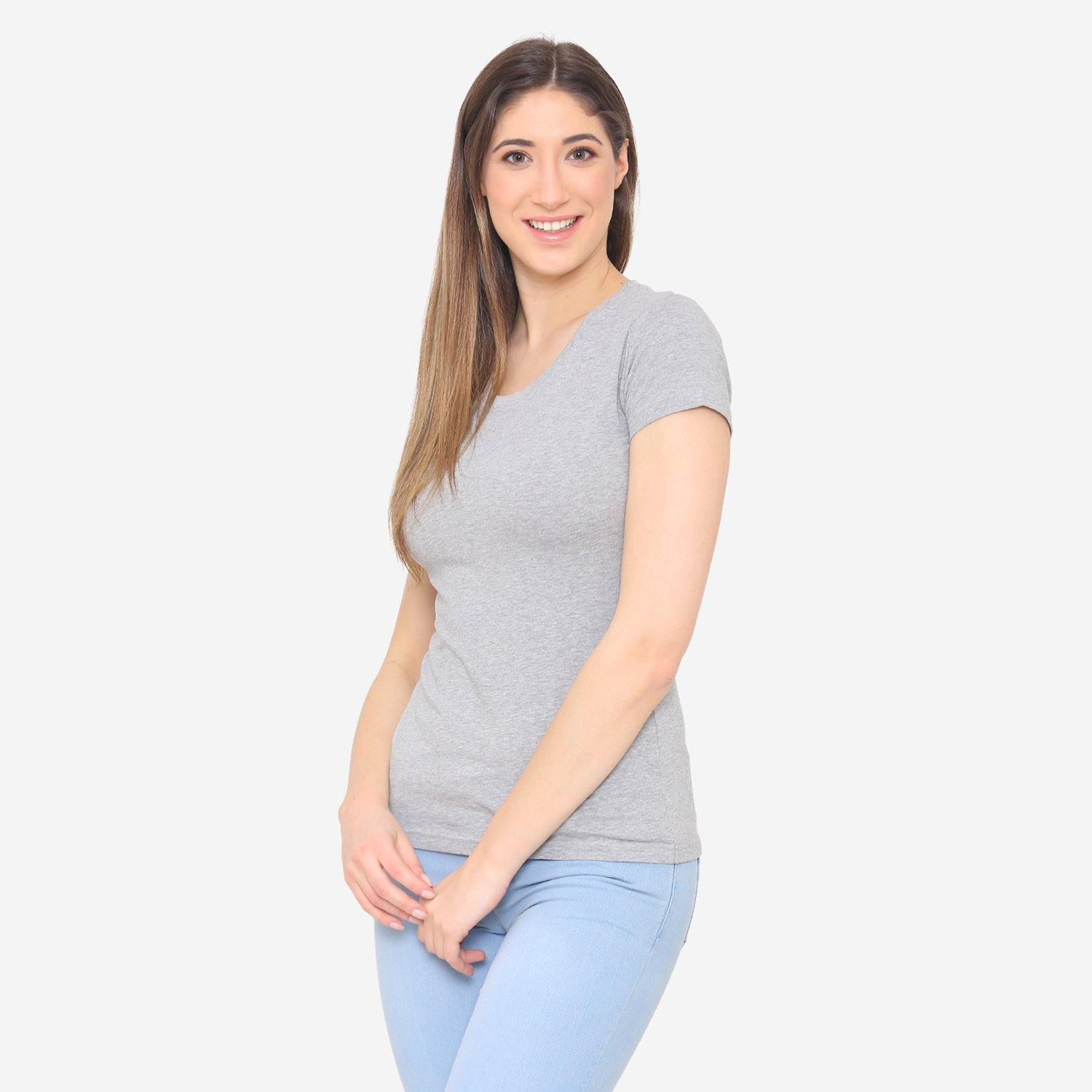 Women's Plain Casual Half Sleeve T-Shirt For Summer - Light Grey