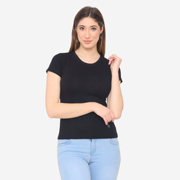 Women's Plain Casual Half Sleeve T-Shirt For Summer - Black