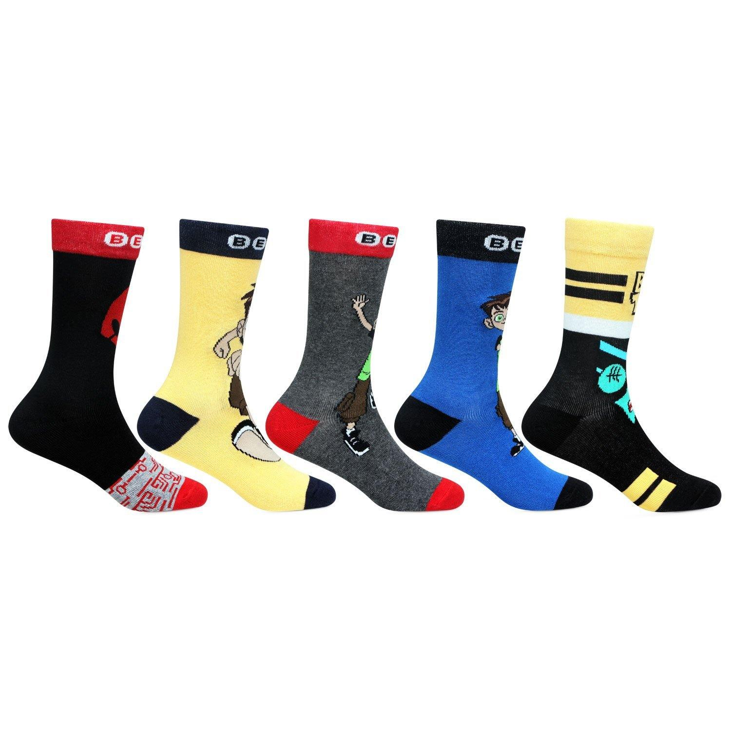 Ben 10 Multicolored Crew Socks For Boys- Pack Of 5