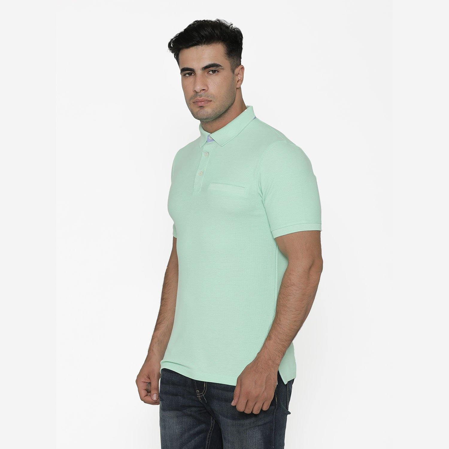 Men's Stylish Polo - Neck T - Shirt For Summer - Green Ash