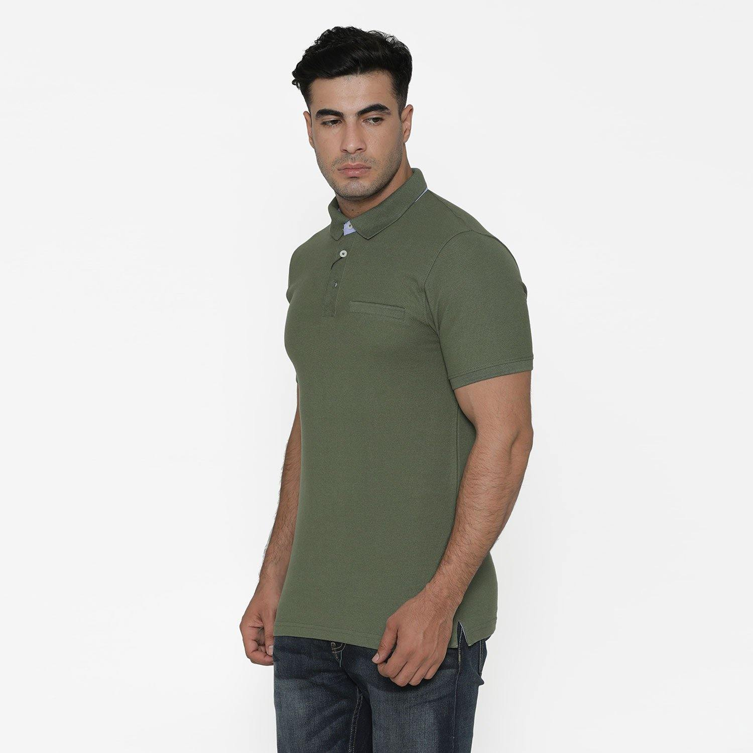 Men's Stylish Polo - Neck T - Shirt For Summer - Olivine