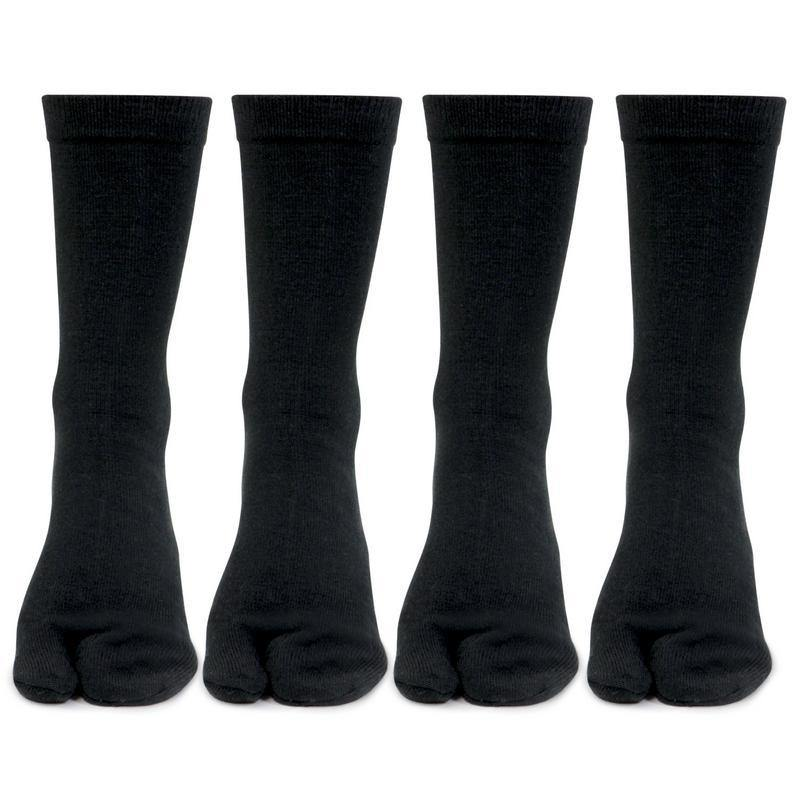 Women's Woolen Thumb Crew Socks In Black - Pack of 4