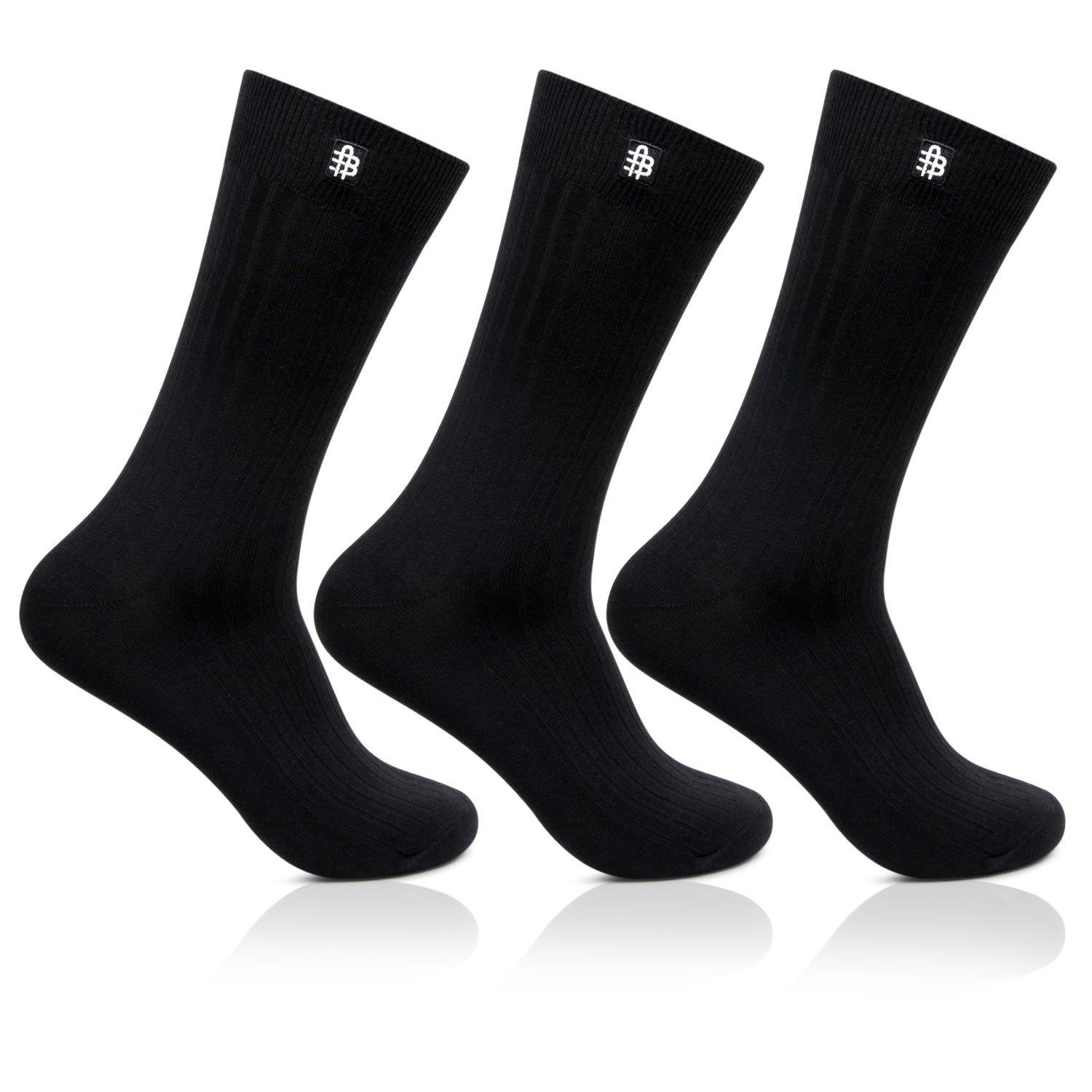 Men's Cotton Black Rib Socks- Pack of 3