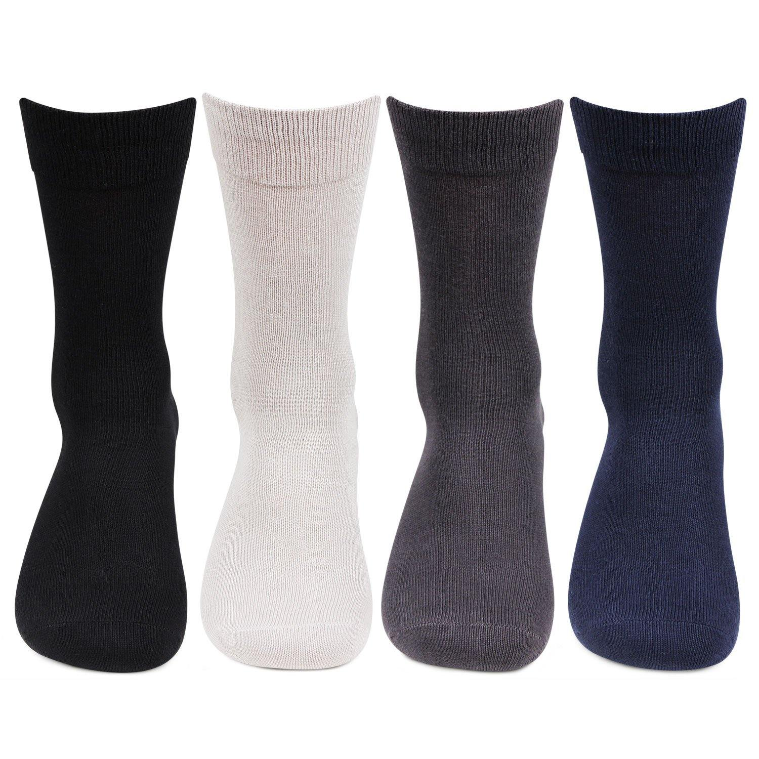 Men's Cotton Multicolored Plain Socks- Pack of 4