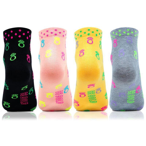 Women's Fashion Multicolored Ankle Length Bold Socks- Pack of 4