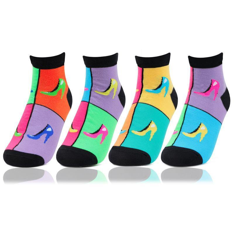 Women's Ankle Length Fashion Multicolored Bold Socks - Pack of 4