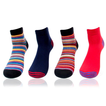 Men's Multicolored Ankle Bold Socks (Striped and Solid) - Pack of 4
