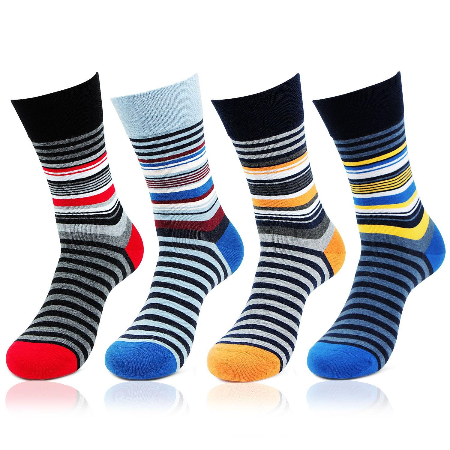 Men's Designer Multicolored Striped Pattern Bold Socks - Pack of 4