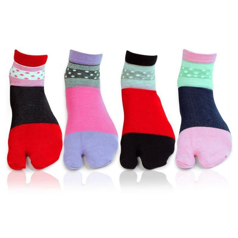 Women's Abstract Design Fashion Multicoloured Cotton Thumb Socks- Pack of 4