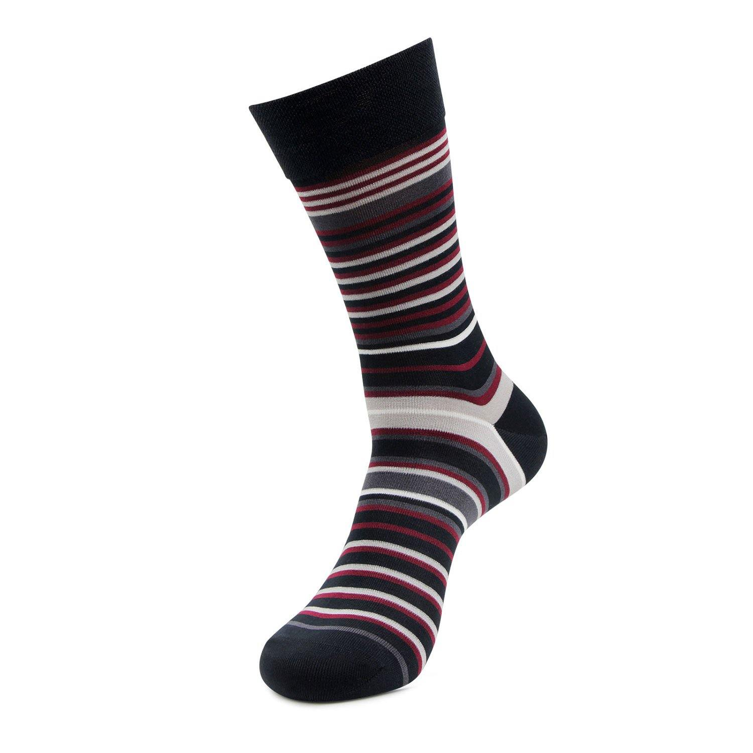 Men's Formal Signature Collection Full Length Stripe Socks (Maroon)