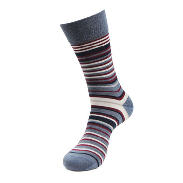 Men's Formal Signature Collection Striped Pattern Full Length Socks (Light Grey)