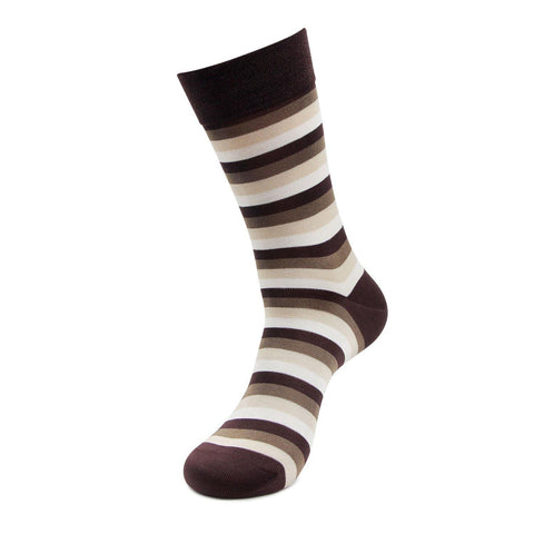 Men's Formal Signature Collection Bold Striped Pattern Full Length Socks (Brown)