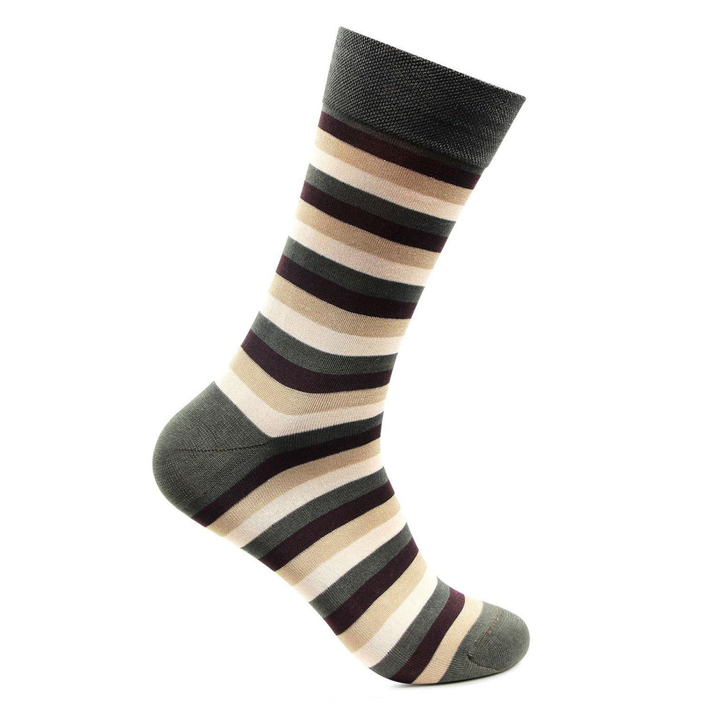 Men's Formal Signature Collection Stripe Pattern Full Length Socks (Forest Green)