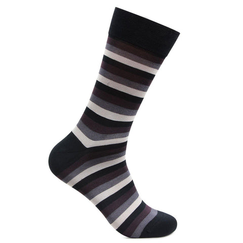 Men's Formal Signature Collection Bold Striped Socks (Black-Light Grey)