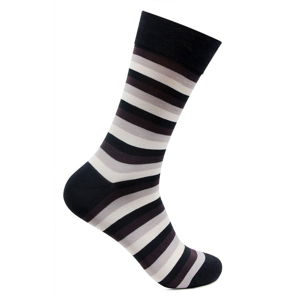 Men's Formal Signature Collection Striped Pattern Socks (Black)
