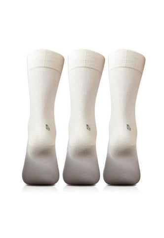 Men's Cotton Odour Free White Plain Socks- Pack of 3